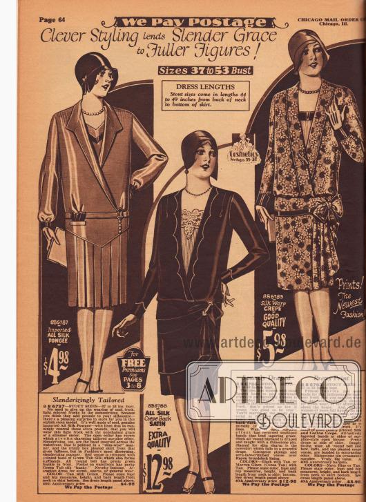 """""""Geschicktes Design verleiht fülligen Figuren schlanken Liebreiz"""" (engl. """"Clever Styling lends Slender Grace to Fuller Figures!""""). Drei Kleider für stärker gebaute Damen. Es handelt sich hierbei um zwei einfache, aber schicke Tageskleider und um ein Nachmittagskleid (Mitte). Die Kleider sind aus importiertem Seiden-Pongee, Seiden-Satin Krepp und Seiden-Baumwoll-Krepp hergestellt. Die offenen, tiefgehenden Kragen offenbaren den Blick auf Westeneinsätze. Das linke Kleid zeigt einen rundum mit Kellerfalten plissierten Rock, während die anderen beiden Modelle eine seitliche Rockdrapierung präsentieren."""