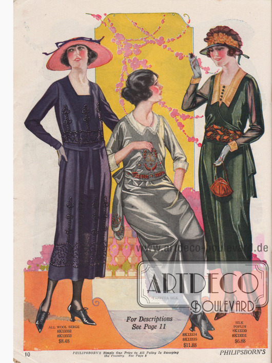 Drei Kleider aus Woll-Serge, Seiden-Taft und Seiden-Popelin mit dezenten Stickereien und mit drei unterschiedlich gearbeiteten Ausschnittformen.