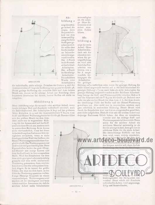 Artikel: O.V., Enthüllte Geheimnisse. Drei Abbildungen zeigen die perfekte Formung eines zukünftigen Sakkos mit optimalen Ärmelausschnitten.
