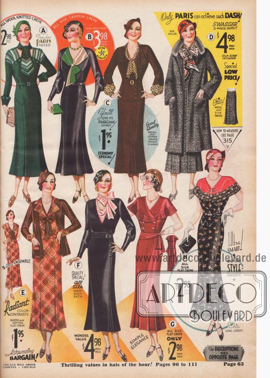 Damenkleider im Herbst 1932. Die aktuellen Modefarben sind der Jahreszeit angepasst: schwarz, braun, rot-braun und grau.