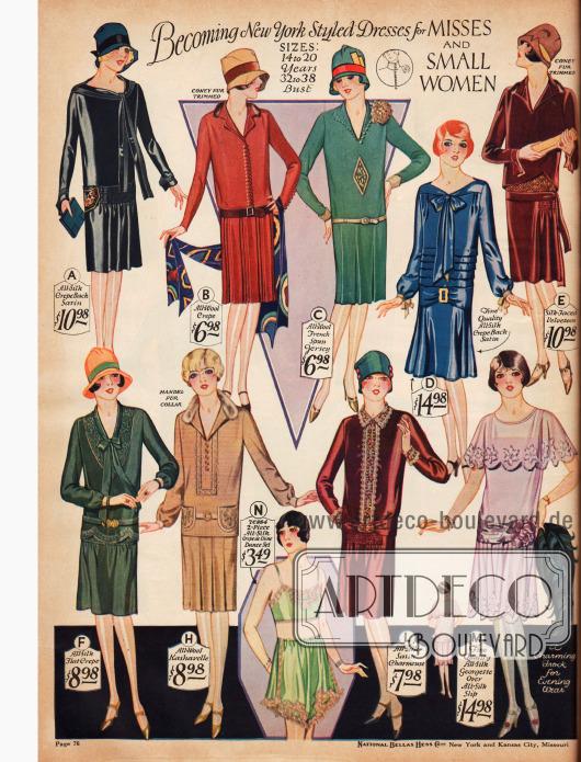 Kleider für klein gewachsene Damen und das junge Fräulein für 6,98 bis 14,98 $.Das zweiteilige Unterwäsche-Set aus nilgrünem Seiden Crêpe de Chine besteht aus einem Bandeau (Bustier) und einem Höschen.