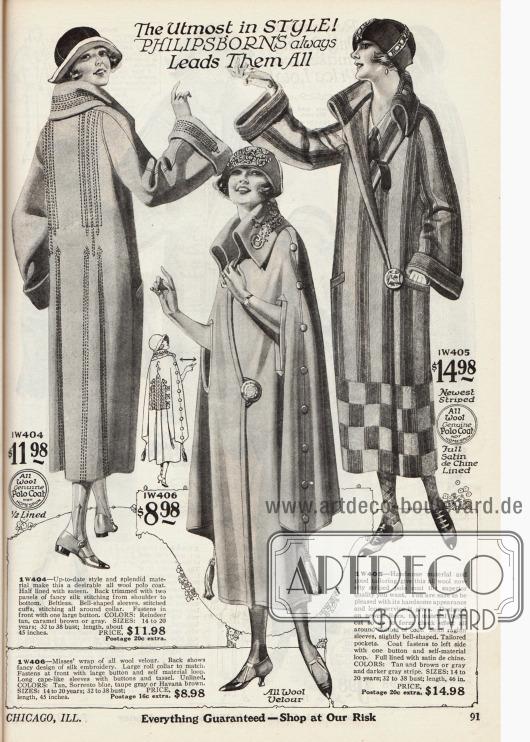 Doppelseite mit einer Jacke (1. Modell), einem Überwurf (5. Modell) und vier langen Mänteln für Damen. Die verwendeten Stoffe sind Woll-Polo Jacquette, Woll-Velours und Woll-Bolivia. Die Mäntel sind teils mit kleinflächigen oder lang gezogenen Stickereien versehen. Große dekorative Knöpfe und Schlaufen sowie bei einem Modell ein Gürtel werden zum Verschließen genutzt.