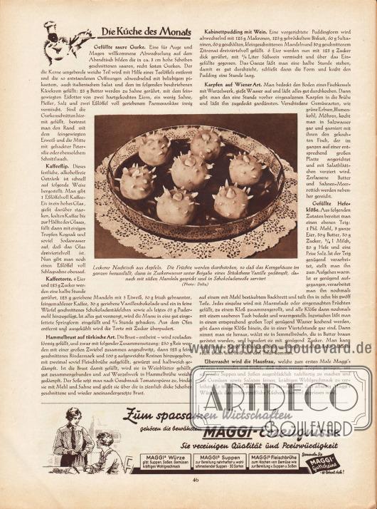"""Artikel:O. V., Die Küche des Monats (Gefüllte saure Gurke, Kaffeeflip, Kaffeetorte, Hammelbrust auf türkische Art, Kabinettpudding mit Wein, Karpfen auf Wiener Art, Gefüllte Hefeklöße)Das Foto in der Seitenmitte besitzt die Bildunterschrift """"Leckerer Nachtisch aus Äpfeln. Die Früchte werden durchstoßen, so daß das Kerngehäuse im ganzen herausfällt, dann in Zuckerwasser unter Beigabe eines Stückchens Vanille gedämpft, danach mit süßen Mandeln gespickt und in Schokoladensoße serviert"""".Foto: Delia.Werbung:Maggi-Erzeugnisse."""