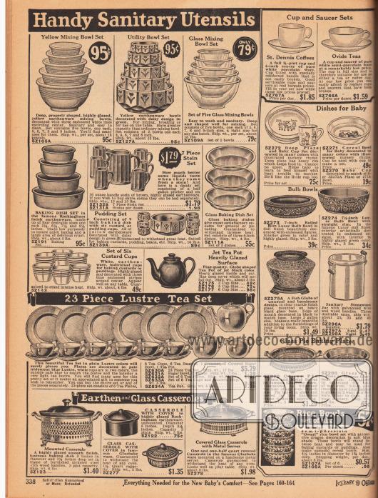 Schüsseln unterschiedlicher Größe, Backschalen, Tassen Sets, Krüge aus Steinware, eine Teekanne, Backschüsseln aus Glas, Kaffee- und Teetassen mit den passenden Untertassen, Babygeschirr, Kuchenteller aus Glas, eine Vase, ein Topf aus Steinware mit Holzgriffen, Kasserollen und echte importierte japanische Reisschüsseln.