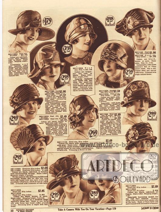 """Zwölf hübsche Damenhüte aus Hanfgeflecht, Azure Stroh, Faille Seide, Visca Stroh, Seide und schweizer Rosshaargeflecht sowie anderen Strohsorten. Einige Hüte sind speziell für reifere Damen (engl. """"matron"""") und Frauen entworfen, die größere Hutgrößen benötigen. Großflächige Stickereien, Ripsbänder, dekorative Knöpfe, Blütenornamente, künstliches Blattwerk, bunte Blumen, Satinbänder, Hutnadeln mit Strasssteinen, Ornamente aus Silberreiher Federn und transparente Rüschen dienen als Aufputz der Hüte. Ein Modell mit breiter Krempe."""