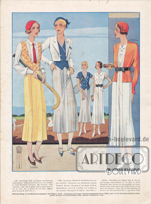 5201: Sportanzug: Rock aus gelbem und Weste aus gelbgrundigem, farbig gemustertem Jersey. Für die Bluse ist weiße Waschseide verwendet. Rote Krawatte. 5202: Sportanzug: Plisseerock und Jäckchen aus weißem Wollstoff. Westenbluse aus mittelblauem, grobem Wollstoff; Blenden, Monogramm und Knöpfe in Weiß. 5203/04: Tenniskleid aus weißem Toile de soie mit passenartigen Schnitteffekten, die am Rock in Falten übergehen. Dazu Jäckchen im Kimonoschnitt aus orangefarbener Seide.