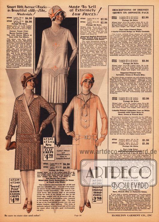 Drei einfache und günstige Damenkleider aus tweedartig bedrucktem Rayon Krepp, unifarbenem Rayon Krepp und importiertem, englischen Breitgewebe zu Preisen von 2,98 Dollar bis 4,98. Die Röcke aller Modelle sind entweder ganz oder teilweise mit Kellerfalten versehen. Das Kleid unten links besitzt Biesen von den Schultern bis zur Gürtellinie. Die Bänder aus Kleidmaterial, die die Hüften umschließen, sind paspeliert. Auch das obige Kleid zeigt reiche, geometrische Biesengarnierung und dezente Motivstickerei. Neben Paspeln und Biesen ist das dritte Kleid auch mit einigen Zierknöpfen versehen.