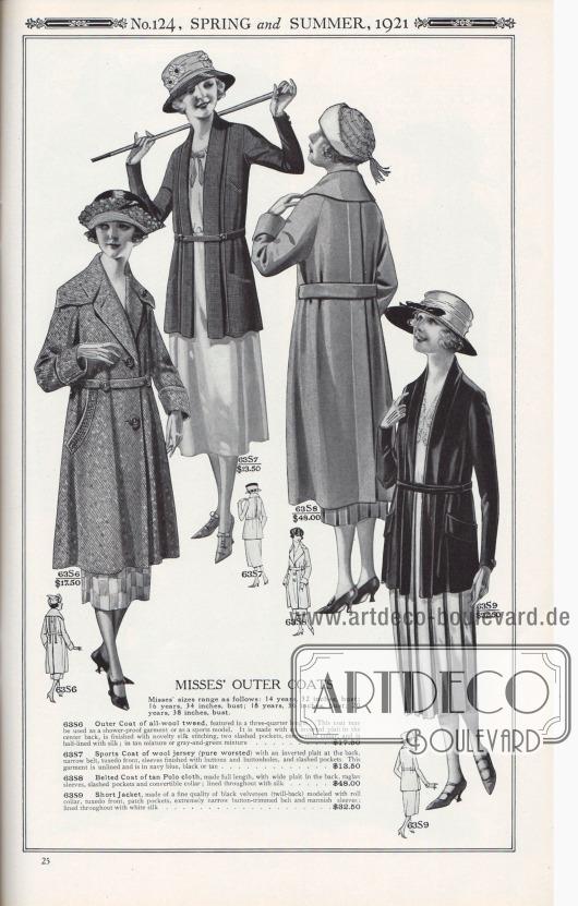 Nr. 124, FRÜHLING und SOMMER, 1921.  DAMEN-OBERBEKLEIDUNG. Die Größen für Fräulein reichen wie folgt: 14 Jahre, 32 Zoll Oberweite; 16 Jahre, 34 Zoll Oberweite; 18 Jahre, 36 Zoll Oberweite; 20 Jahre, 38 Zoll Oberweite.  63S6: Mantel aus reinem Woll-Tweed, in Dreiviertel-Länge. Dieser Mantel kann als regenfestes Kleidungsstück oder als Sportmodell verwendet werden. Er besitzt eine invertierte Falte in der Mitte des Rückens, ist mit neuartiger Seidenstickerei versehen, hat zwei große Eingrifftaschen, einen abnehmbaren Kragen und ist halb mit Seide gefüttert; in hellbrauner oder grau-grüner Mischung… 17,50 $. 63S7: Sportmantel aus Woll-Jersey (reines Kammgarn) mit invertierter Falte im Rücken, schmalem Gürtel, Smoking-Vorderseite, Ärmeln mit Knöpfen und Knopflöchern und eingearbeiteten Schlitztaschen. Dieses Kleidungsstück ist ungefüttert und ist in Marineblau, Schwarz oder Hellbraun… 13,50 $. 63S8: Gegürteter Mantel aus hellbraunem Polostoff, in voller Länge, mit breiter Falte im Rücken, Raglanärmeln, geschlitzten Taschen und konvertierbarem Kragen; durchgehend mit Seide gefüttert… 48,00 $. 63S9: Kurze Jacke, aus feinem schwarzem Samt (Twill-Rückseite), entworfen mit Umlegekragen, Smokingfront, aufgesetzten Taschen, extrem schmalem Gürtel mit Knöpfen und herrenmäßig gearbeiteten Ärmeln; durchgehend mit weißer Seide gefüttert… 32,50 $.  [Seite] 25