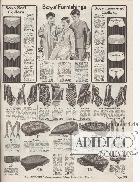 Notwendige Accessoires für Jungen. Hemdkragen, Nachthemden, Krawatten, Gürtel, Hosenträger und Schiebermützen.