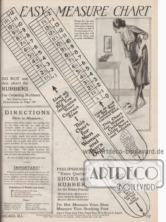 Maßdiagramm zur leichten Messung der Schuhgröße von Männern, Frauen und Kindern.