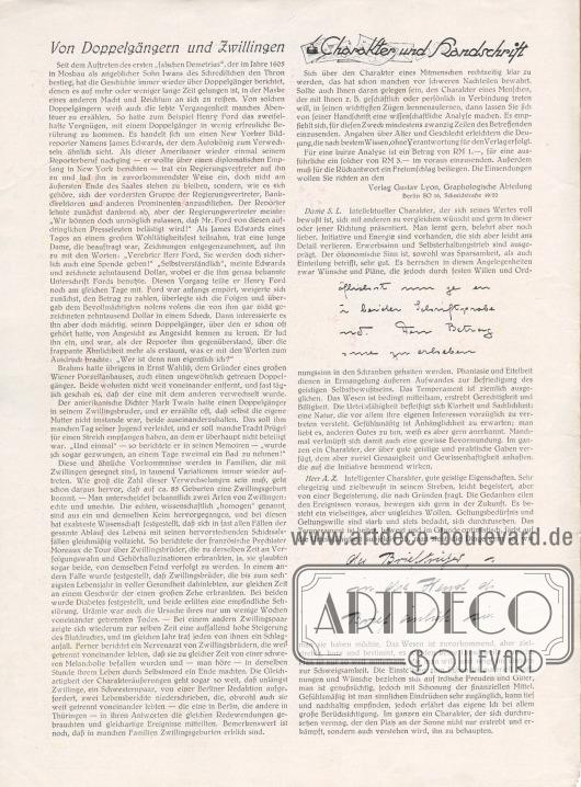 Artikel: O. V., Von Doppelgängern und Zwillingen; Verlag Gustav Lyon, Graphologische Abteilung, Charakter und Handschrift.