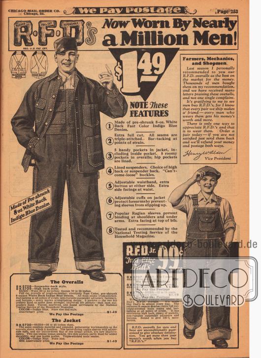 """""""Robust-Weit geschnitten-Verlässlich – Jetzt von fast einer Million Männer getragen"""" (engl. """"R[ugged]-F[ull Cut]-D[ependable]'s – Now Worn By Nearly a Million Men!""""). Arbeitsoveralls mit Jacke für Männer und ein Arbeitsoverall in verschiedenen Größen für Jungen von 3 bis 18 Jahren. Die Overalls sind aus schwerem Indigo Blue Denim (Jeansstoff) gefertigt. Das Gewebe wurde vorschrumpf (1), damit es nicht einläuft, die Säume sind dreifach genäht (2), die Jacke hat fünf, der Overall acht geräumige Taschen (3), die Hosenträger sind verstärkt (4), der Gürtel ist verstellbar (5), die Ärmelaufschläge der Jacke sind verstellbar (6), Raglanärmel erhöhen den Tragekomfort (7) und der Arbeitsanzug ist getestet und empfohlen vom National Testing Service des """"Household Magazine""""."""