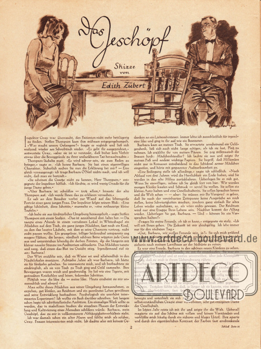 Artikel: O. V., Das Geschöpf (mit einer Skizze von Edith Zübert).