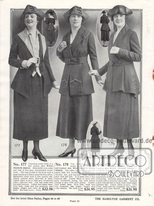"""Kostüme für modebewusste Damen der gehobenen Preisklasse aus französischer Woll-Serge und """"Poiret Twill"""" Wollstoff, ähnlich Gabardine. Das erste Kostüm zeigt einen abnehmbaren Kragen und eine Weste aus hellem Breitgewebe. Die Jacke zeigt einen ungewöhnlichen Schnitt. Die zweite Kostümjacke zeigt Paspeln an Kragen und Taschen. Beim dritten Kostüm fällt sofort der beidseitig punktuell verlängerte Jackenschoß ins Auge."""
