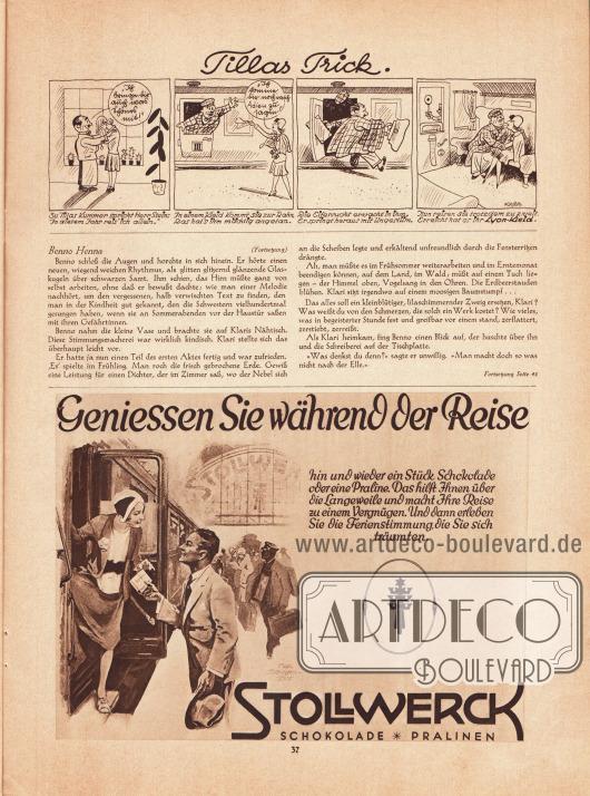 """Artikel:Roda Roda, Benno Henna.Darüber befindet sich eine gezeichnete Geschichte namens """"Tillas Trick"""", die als Werbung für nach Lyon-Schnitten gefertigten Kleidern gedacht ist&#x3B; Zeichnung: Hans Kossatz (1901-1985).Werbung:Stollwerk Schokolade und Pralinen.Illustration: Felix Schwormstädt (1870-1938)."""