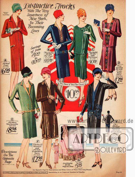 """""""Aparte Kleider"""" in ihrer kleidsamen aber einfachen Linie. Woll-Krepp, Seiden-Krepp, Seiden-Satin-Charmeuse, Satin und Woll-Kashavelle sind die Stoffe aus denen die Kleider gefertigt sind. Zwei Modelle (A & F) sind mit leichtem Pelzbesatz verbrämt. Modelle E und H besitzen plissierte Röcke."""