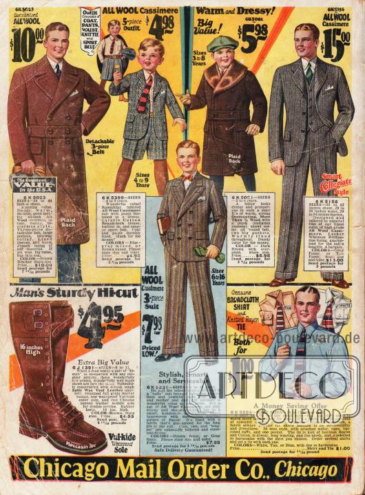Herrenoberbekleidung. Arbeitsstiefel unten links.