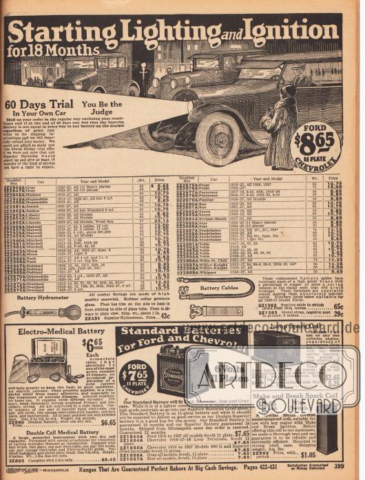 """""""Überlegene Autobatterien zum Starten von Licht und Zündung – 18 Monate Garantie"""" (engl. """"[Superior Storage Batteries for] Starting Lighting and Ignition – [Guaranteed] for 18 Months""""). Die verfügbaren Autobatterien sind für die Modelle und Jahrgänge (fortgesetzte Tabelle von voriger Seite 398): Gray 1922-27, Hudson 1916-27, Hupmobile 1915-27, Jewett 1921-27, Jordan 1920-27, Liberty 1916-27, Lincoln 1920-27, Maxwell 1915-25, Mitchell 1917-18 und 1921-23, Moon 1919-27, Nash 1917-27, Oakland 1916-27, Oldsmobile 1916-24, Overland 1915-27, Paige 1916-27, Patterson 1917-20 und 1923-24, Pontiac 1926-27, Reo 1916-27, Saxon 1916-23, Scripps-Booth 1917-22, Star 1922-26, Studebaker 1914-27, Velie 1917-27, Wills-St. Clair 1921-27, Willys-Knight 1915-27 und Wippet 1926-27. Im unteren Seitenbereich werden Batterie-Hydrometer, Batterie-Kabel, Standard-Batterien mit sechs Volt für Ford T Automobile der Jahre 1919 bis 1927 sowie für Chevrolet Fahrzeuge der Jahre 1916 bis 1927 und unten links zwei Zündspulen für Motoren angeboten. Unten links wird überdies eine """"Elekto-Medizinische-Batterie"""" (engl. """"Electro-Medical-Battery"""") für verschiedene gesundheitliche Therapiezwecke offeriert."""