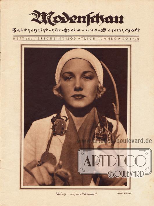 """Titelblatt mit einer großformatigen Fotografie zum Thema Wintersport mit der Bildunterschrift """"Und jetzt - auf zum Wintersport!"""", Foto: MGM."""