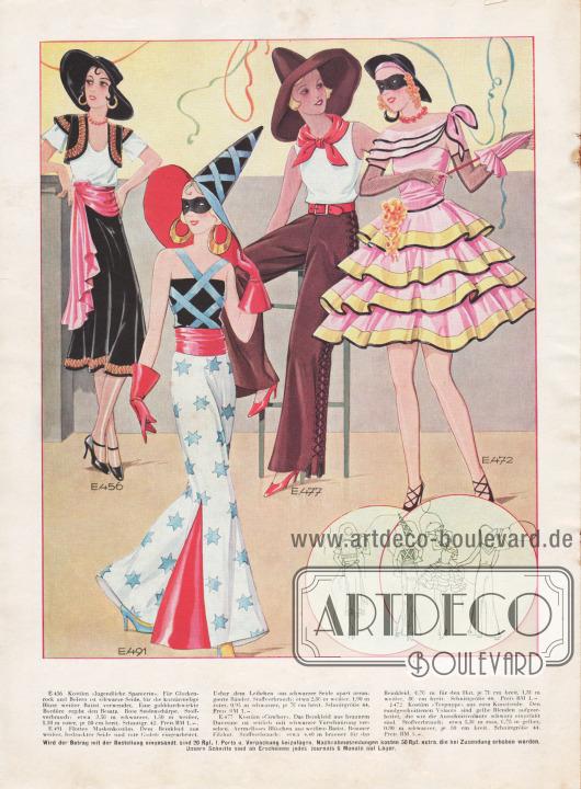 Faschingskostüme für Silvester 1931/32 und Karneval 1932.