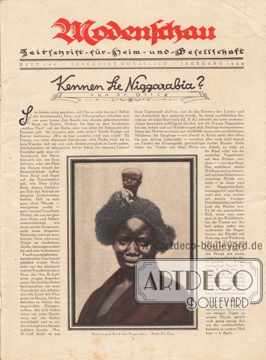 """Titelseite der Modenschau Nr. 196 vom April 1929.Artikel:Dr. Ollig, Kennen Sie Niggarabia?Der Artikel wird ergänzt durch ein großes Bild einer Pygmäin aus dem damals noch kaum erforschten Herzen Afrikas ergänzt, dass die Bildunterschrift besitzt """"Mutter und Kind aus Niggarabia"""".Foto: Berliner Illustrierte Zeitung."""