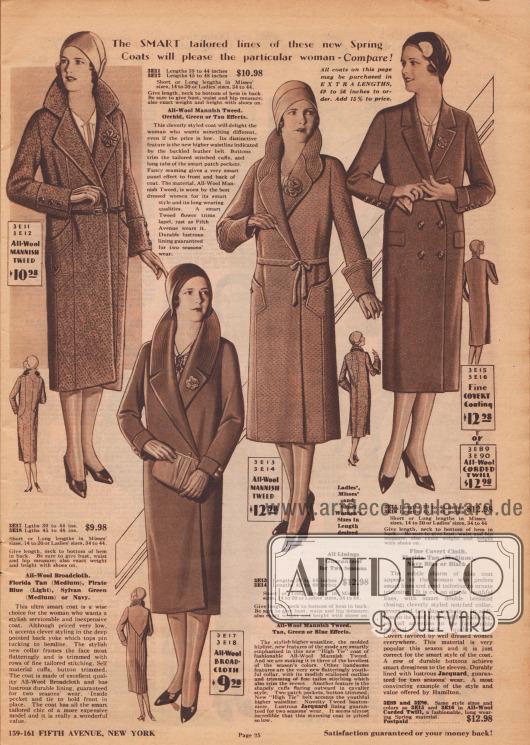 """""""Die eleganten, maßgeschneiderten Linien dieser neuen Frühjahrsmäntel werden die wählerische Frau erfreuen – Vergleichen Sie!"""" (engl. """"The Smart tailored lines of these new Spring Coats will please the particular woman – Compare!""""). Vier Damenmäntel aus herrenmäßigem Woll-Tweed, Woll-Breitgewebe oder wahlweise feinem, langlebigem Mantelstoff (""""Fine Covert Coating"""") oder Woll-Kord. Der erste Mantel präsentiert einen hohen, eingekerbten Stehkragen mit Stoff-Kleeblatt im Revers, dezent eingelassenen Taschen, Steppnähte sowie Knopfgarnitur. Ein schmaler Ledergürtel markiert die neue Gürtellinie in natürlicher Taillenhöhe. Der zweite Mantel besitzt eine spitz zulaufende Schulterpasse im Rücken von der aus Haarbiesen bis zum Mantelsaum geführt sind. Das Gesicht umrahmt ein runder Stehkragen mit harmonierender Stepperei und Ansteckblüte. Seitlicher Knopfschluss. Einen fast schon blütenartig gebogten Stehkragen mit harmonierender Stepperei präsentiert das dritte Modell. Der Mantel besitzt breite Manschetten (""""cavalier style"""") mit Bogenabschluss sowie eine Ansteckblüte aus Tweed. Interessant aufgesetzte Beuteltaschen. Jacquard dient als Mantelfutter. Abgesehen von den Taschenpatten zeigt der doppelreihige vierte Mantel einen unauffällig glatten Schnitt. Der schmale eingekerbte Kragen wird von einer Blüte geziert."""
