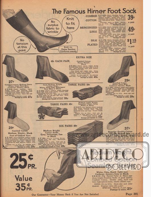Socken für Männer. Die Socken sind aus gekämmter Baumwolle, merzerisierten Baumwollgarnen oder Seide hergestellt und können in mittelschweren bis schweren Qualitäten geordert werden. Fersen- und Zehenpartien sind verstärkt. Nahtlos gewebte Socken. Die bestellbaren Farben sind Weiß, Hellbraun, Dunkelgrau, Braun, Marineblau oder Schwarz. In der Mitte werden jeweils drei Paar Socken zu Sparpreisen offeriert.