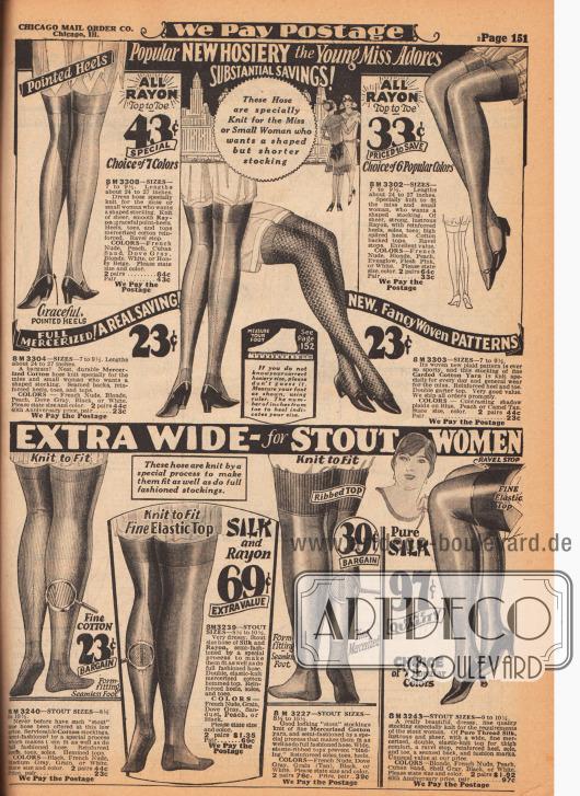 Strümpfe für junge Frauen (oben) und stärker gebaute Damen (unten). Die Strümpfe sind aus Rayon, merzerisierter Baumwolle, gekardetem (gekämmtem) Baumwollgarn, Seiden-Rayon sowie reiner Seide. Die Sohlen und die oberen Enden sind verstärkt und die Fersennähte dekorativ gearbeitet. Einzelne Strümpfe sind aus dickerem, gemustertem Material für sportliche Aktivitäten.
