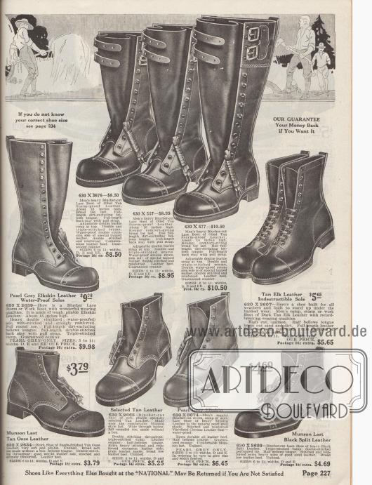"""Arbeitsschuhe mit hohem Schaft und hohe Schnürstiefel für Arbeiten auf dem Feld und der Farm, in Wäldern, auf dem Bau oder der Industrie für Männer. Die Schuhe sind aus Elchs-Leder, Spaltleder oder """"Ooze Leather"""" (Schafs- oder Rindsleder, das einen speziellen Gerbungsprozess durchläuft). Fast ausschließlich Modelle mit Derbyschaftschnitt und offener Schnürung; rechts mittig ein Paar mit geschlossener Oxford-Schnürung. Verstärkte Nähte sowie Lochlinien an der Kappen-Naht. Die hohen Stiefel sind mit Doppel-Riemen und Schnallen zum Befestigen versehen."""