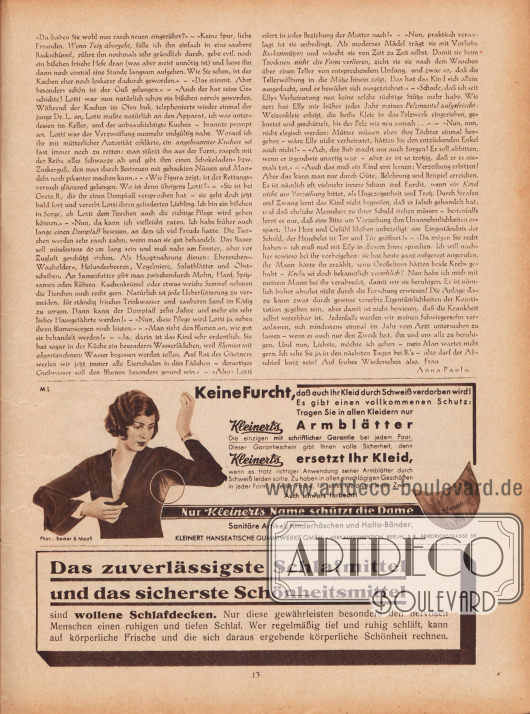 """Artikel: Paula, Anna, Liebe Freundin! Ich rate Ihnen… (von Anna Paula).  Werbung: """"Keine Furcht, daß auch Ihr Kleid durch Schweiß verdorben wird! Es gibt einen vollkommenen Schutz: Tragen Sie in allen Kleidern nur Kleinert's Armblätter"""", Kleinert's Armblätter, Kleinert Hanseatische Gummiwerke GmbH, Verkaufsdirektion Berlin S 8, Friedrichstrasse 59, Foto: Becker & Maaß, Berlin; """"Das zuverlässigste Schlafmittel und das sicherste Schönheitsmittel sind wollene Schlafdecken"""", Anzeige für wollene Schlafdecken."""