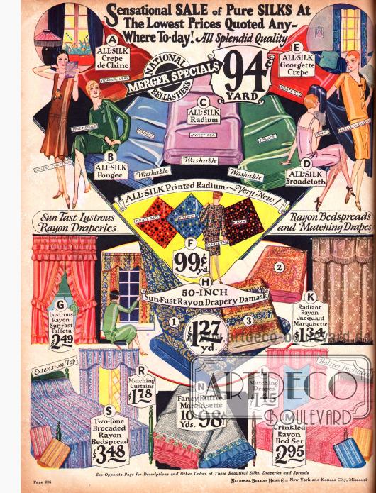 Reine Seidenstoffe zum Sonderpreis von 94 ¢ pro Yard (ca. 91cm). Haustextilien, wie Vorhänge mit Rüschen aus Rayon-Damast und Tagesdecken aus Rayon, werden um unteren Teil des Bildes präsentiert.