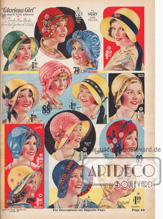 Hüte für Mädchen.