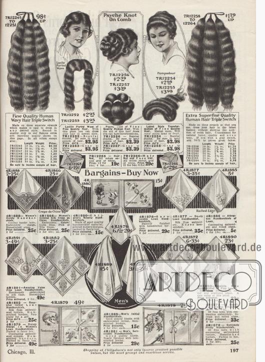 """Perücken, Haarteile und Haarknoten (""""Griechische Knoten"""", engl. """"Psyche Knot"""") in verschiedenen Längen aus dauergewelltem, menschlichem Echthaar, die in allen gängigen Naturhaarfarben bestellt werden konnten. In der Mitte sind auch Haarnetze im Angebot.  """"Schnäppchen – Jetzt Kaufen"""" (engl. """"Bargains – Buy Now""""). Unten werden Stofftaschentücher für Frauen und Männer offeriert. Die Taschentücher sind aus Batist oder Linon und reich bestickt. Einzelne Tücher konnten nach Wusch mit den Initialen bestellt werden."""