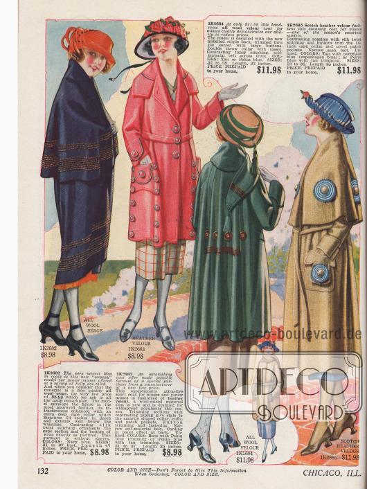 Mäntel für junge Frauen aus Woll-Serge, Velours und Woll-Velours. Stickereien, großzügig geschnittene Kragen, großräumige Taschen, aufgestickte Seidenrosetten und Metallknöpfe verschönern die jugendlichen Mäntel.