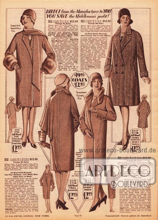 """Damenmäntel für die Frühjahrssaison 1929 aus """"Ombré Coating"""" (Wollstoff in verschiedenen Farbtönen), Woll-Kasha, Woll-Poiret Gewebe und Woll-Sporttweed. Zwei Mäntel sind mit Mufflonfell (Wildschaf) und Kaninchenfell verbrämt. Die Modelle sind für je 12,95 Dollar bestellbar. Der Mantel oben links besitzt aufgesetzte Taschen und einen Schal aus dem gleichen Mantelmaterial. Der Mantel unten links zeigt ein einseitiges Cape und eine Schleife unter dem aufgestellten Kragen. Ärmelmanschetten und Biesen in bogiger Ausformung sind am dritten Modell zu finden. Oben rechts ein doppelreihiger Sportmantel."""