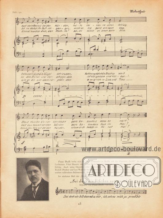 """Musikbeilage der Modenschau mit dem Lied """"Frühlingsmahnung"""" und den dazugehörigen Noten vom Komponisten Franz Doelle (1883-1965) und den Liedzeilen von Elisabeth Doelle.Unten auf der Seite ein Abriss des bisherigen Werkes von Franz Doelle und einem Foto von ihm.Foto: unbekannt."""
