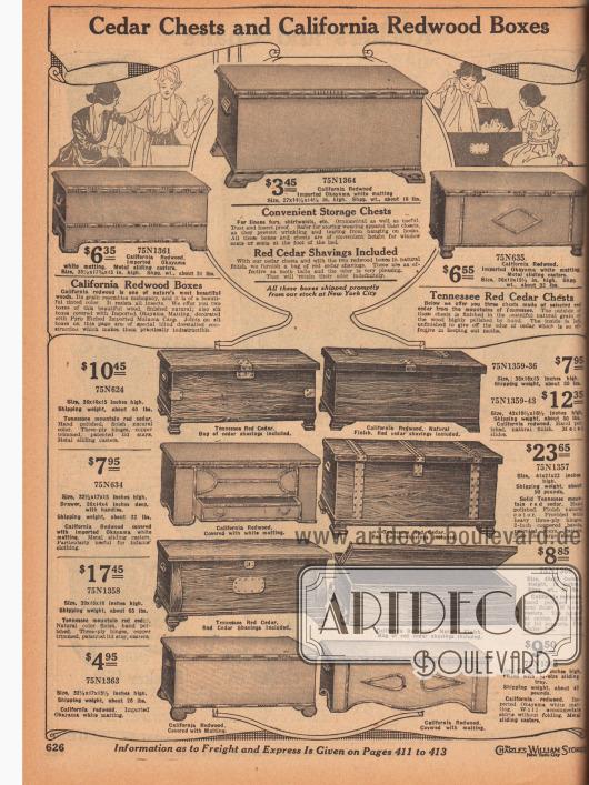 """""""Bettkästen aus Zedernholz und Truhen aus kalifornischem Rotholz"""" (engl. """"Cedar Chests and California Redwood Boxes""""). Betttruhen für das Schlafzimmer zum Verstauen von Bettwäsche oder Kleidung aus kalifornischen Rothölzern oder Zedernholz aus Tennessee. Die Truhen konnten an das Ende der Betten oder vor ein Fenster gestellt werden, da die Truhen eine ideale Sitzhöhe hatten. Unter den Betttruhen war aus unterschiedlichen Maserungen, Aufmachungen und Stilen wählbar."""