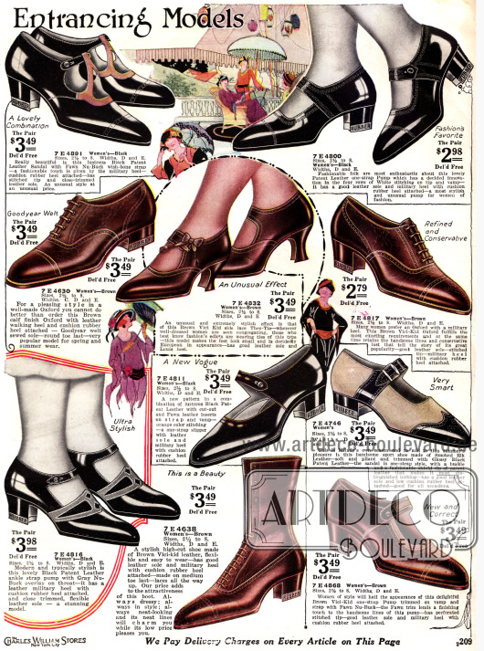 Schnallenschuhe mit Ausstanzungen. Ein zweifarbiger Schuh, ein Mokassin und ein Slipper Modell.