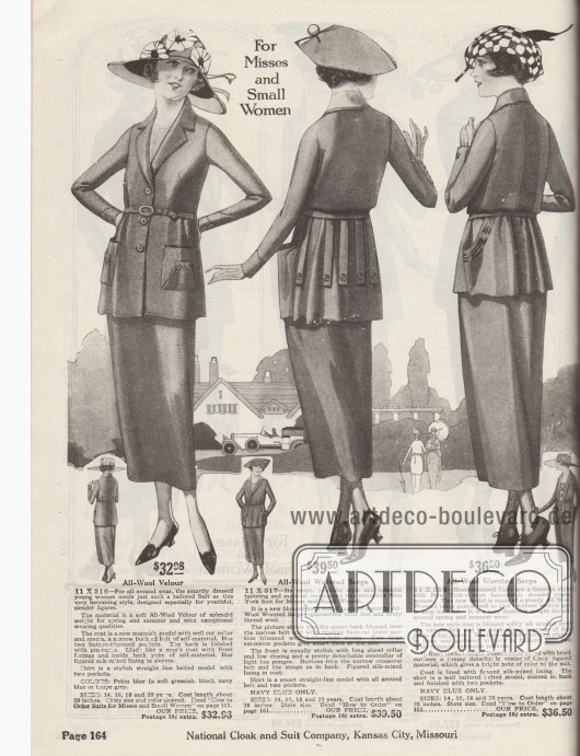 """""""Für junge Frauen und zierliche Damen"""" (engl. """"For Misses and Small Women""""). Drei Kostüme aus Woll-Velours oder Serge Kammwolle für junge Frauen im Alter zwischen 14 und 20 Jahren sowie Damen, die kleine Konfektionsgrößen benötigen. Die Jacke des ersten Kostüms zeigt einen herrenmäßigen Schnitt und Kragen sowie aufgesetzte Taschen. Im Rücken Haarbiesen. Die Kostümjacke des zweiten Modells ist oberhalb des Gürtel blusig gearbeitet. Aufgeknöpfte lose Blenden zieren den Schoß. Abstehend gearbeitete Beuteltaschen sowie abnehmbarer Umlegekragen aus hellbraunem Pongee (Japanseide). Gemustertes Seidenfutter. Die dritte Kostümjacke rechts zeigt vertikale Biesen im Rücken und die abstehenden Taschen werden von schwarzen Tressen umrahmt. Smokingkragen (engl. """"Tuxedo collar"""") mit Einfassborte."""
