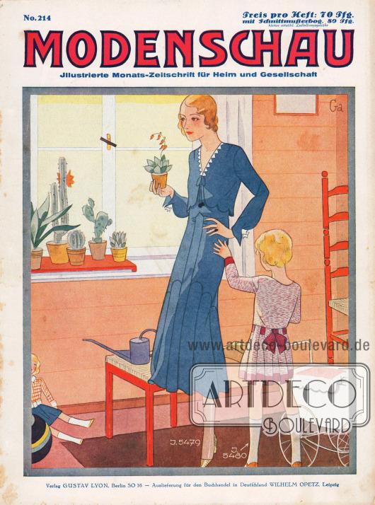"""Titelseite der deutschen Illustrierten Modenschau Nr. 214 vom Oktober 1930.Zeichnung: """"Ga."""""""