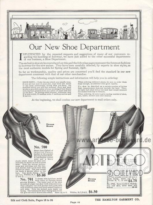 Auf dieser Seite wird die neue Schuhabteilung von Hamilton Garment Co. vorgestellt. Zudem werden hier Instruktionen zur Bestellung der richtigen Schuhgröße gegeben. Unten rechts und links befindet sich jeweils ein Paar Oxfords aus Lack- und Kalbsleder, ein Paar mit Louis XIV Absätzen und eins mit Militärabsatz. Im Zentrum befindet sich ein Paar Schnürstiefel aus Ziegenleder.