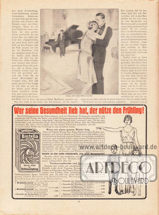 Artikel:Welten, Heinz, Die Eroika.Werbung:Brotella zur Frühjahrs- und Reinigungsdiät sowie Verdauungskranke, Fabrik Wilhelm Hiller, Hannover.