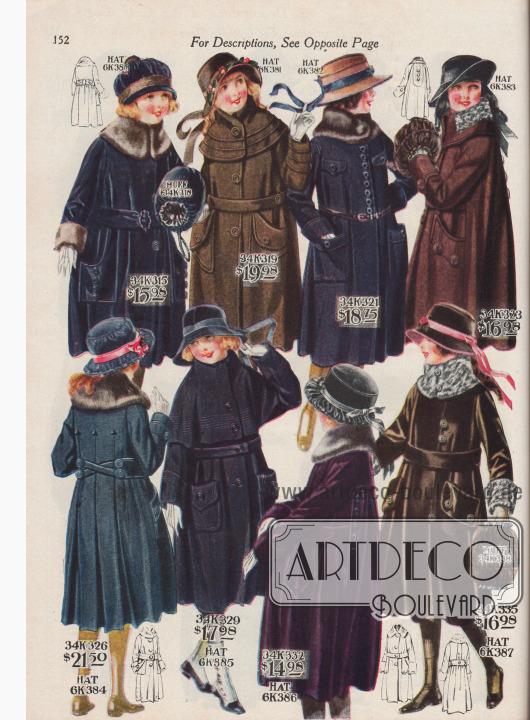 """Acht Herbst- und Wintermäntel für 8 bis 14-jährige Mädchen zu Preisen von 14,98 bis 21,50 Dollar. Die großzügig weit geschnittenen Mäntel sind aus Velours-Plüsch, Woll-Polo-Gewebe, Woll-Velours und Woll-Gewebe mit eingewebten, silberfarbigen Fäden (engl. """"Wool Silver Cloth""""). Als Verbrämungen dienen Webpelz mit Biber-, Chinchilla- oder Krimmer- (Karakulschaf)-Textur oder echtes Kaninchenfell. Mäntel mit Steppnähten, Schnurverzierung, aufgesetzten Taschen und Knopfgarnitur. Neben den Wintermänteln werden auch zwei Muffe sowie vier Hüte für Mädchen angeboten."""