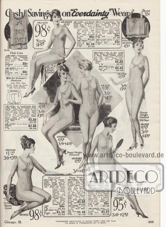 """""""Bar-Ersparnis auf 'Everdainty' Wäsche"""" (engl. """"Cash Savings on 'Everdainty' Wear""""). Trikotunterwäsche für Damen. Die gezeigten Hemdhosen sind aus gerippten Baumwollgarnen unterschiedlich schwerer Qualitäten. Die Modelle sind mit langen Beinen und mit langen oder halben Ärmeln versehen oder ärmellos. Einzelne Hemdhosen sind zusätzlich leicht oder dick mit Vlies gefüttert für besonders kalte Tage. Zwei Unterhemden für Frauen oben links und rechts."""