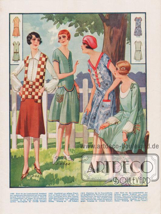 2031: Kleid für den Landaufenthalt, bestehend aus rostbraunem Kaschmirrock und braun-beige karierter Weste über weißer Voilebluse. Diese ist mit Umlegekragen und langen Bündchenärmeln verarbeitet. An der Weste schräge Einschnittaschen. 2032: Dirndlkleid aus grünem Waschstoff mit Besatz in Blau und Gelb. Am bogig ansetzenden Rock gelbe Taschen, denen blaue Blenden zackig aufgebracht sind. Kimonobluse mit geknöpftem Schlitz. 2033: Kleidchen für die Sommerfrische aus großgeblümtem Waschstoff mit rotem Blendenschmuck. Den dicht gereihten Rock statten Taschen aus. Das plissierte weiße Jabot wird durch die vordere Knopfblende geteilt. 2034: Kleid für den Landaufenthalt aus leichtem grünem Wollstoff mit bunter Stickerei. Passe und Ärmelpuffen bestehen aus weißem Punktmull. Auf der linken Schulter Schnurschleife.