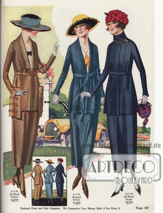 Kostüme für Damen aus Woll-Velours, merzerisiertem Baumwollstrickstoff und Woll-Serge.