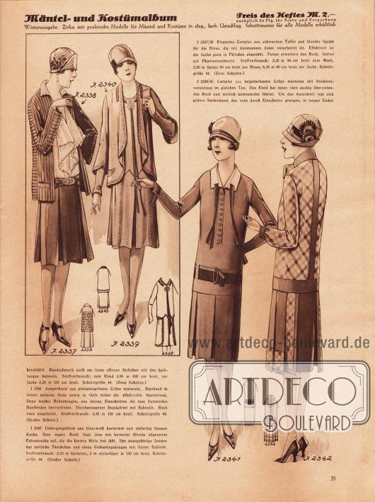 2337/38: Elegantes Complet aus schwarzem Taffet und blonder Spitze für die Bluse, die mit kleidsamem Jabot verarbeitet ist. Effektvoll ist die Jacke ganz in Fältchen abgenäht. Falten erweitern den Rock. Gürtel mit Phantasieschnalle. 2339/40: Complet aus beigefarbenem Crêpe Marocain mit Stickereiverzierung im gleichen Ton. Das Kleid hat einen vorn zackig übertretenden Rock und seitlich ansetzenden Gürtel. Um den Ausschnitt legt sich grünes Seidenband, das vorn durch Einschnitte gezogen, in langen Enden herabfällt. Bandschmuck auch am losen offenen Jäckchen mit den halblangen Ärmeln. 2341: Jumperkleid aus pistaziengrünem Crêpe Marocain. Ripsband in einem satten Grün sowie in Gelb bildet die effektvolle Garnierung. Dazu weißer Bubenkragen, aus dessen Einschnitten die lose flatternden Bandenden hervortreten. Durchgezogener Bandgürtel mit Schnalle. Rock vorn eingefaltet. 2342: Übergangskleid aus blau-weiß kariertem und einfarbig blauem Kasha. Dem engen Rock liegt eine mit karierter Blende abgesetzte Faltentunika auf, die die hintere Mitte frei läßt. Der dazugehörige Jumper hat seitliche Täschchen und einen Stehumlegekragen mit flotter Schleife.