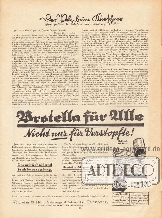 Artikel:Fulda, Ludwig, Der Pelz beim Kürschner.Werbung:Brotella, Natur-Diät, Wilhelm Hiller, Nahrungsmittel-Werke Hannover.