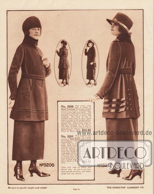 """5200: Günstiges Kostüm aus Baumwoll-Woll-""""Trikotine"""" für Damen. Der konvertierbare Kragen besitzt ein Inlay aus warmem, weichen Samt, das in der Innenseite mit dichten Reihen von Stickerei versehen ist. Vertikale Stickerei führt im Rücken der Kostümjacke bis unterhalb des Gürtels, wo sie in Faltengruppen übergeht. Paspeln an Unterärmeln, Brust und Jackensaum. Schlitztaschen sind geschickt in den Jackenschoß an den Paspeln eingelassen. 5201: Sehr günstiges Damenkostüm aus Baumwoll-Woll-Serge. Der schwarze Samtkragen schließt, markiert von Knöpfen, an die langen Revers aus dem Mantelmaterial an. Drei glänzende Tressen sind beidseitig am Jackenschoß zu finden. Das von Paspeln eingerahmte Rückenpaneel zeigt im unteren Bereich eine lange gestickte Linie, die in einer Pfeilspitze endet und von zwei Knopfreihen flankiert ist. Die Jacke ist mit Samt gefüttert."""