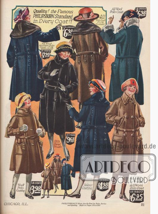 Wintermäntel für Mädchen in identischer Aufmachung und Erscheinung der Großen. Die verarbeiteten Stoffe sind Wollmischungen, Plüsch, Woll-Velours mit Kaninchenpelz und Pelzstoff.